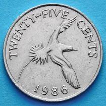 Бермудские острова 25 центов 1986 год.