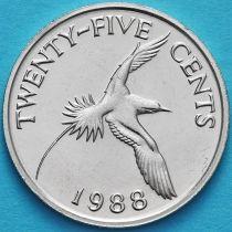 Бермудские острова 25 центов 1988 год.