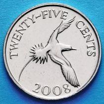 Бермудские острова 25 центов 2008 год. Белохвостый фаэтон.