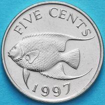 Бермудские острова 5 центов 1997 год. Рыба ангел.