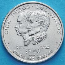 Боливия 100 песо 1975 год. Независимость. Серебро.