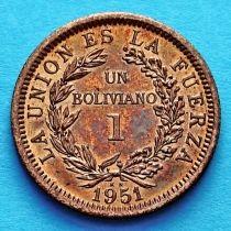 Боливия 1 боливиано 1951 год. KN.