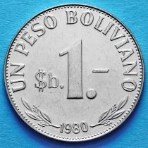 Боливия 1 боливанский песо 1980 год. UNC.