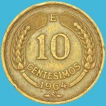 Чили 10 сентесимо 1964 год.