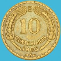 Чили 10 сентесимо 1966 год.