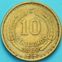 Чили 10 сентесимо 1969 год.