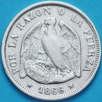 Чили 20 сентаво 1866 год. Серебро.