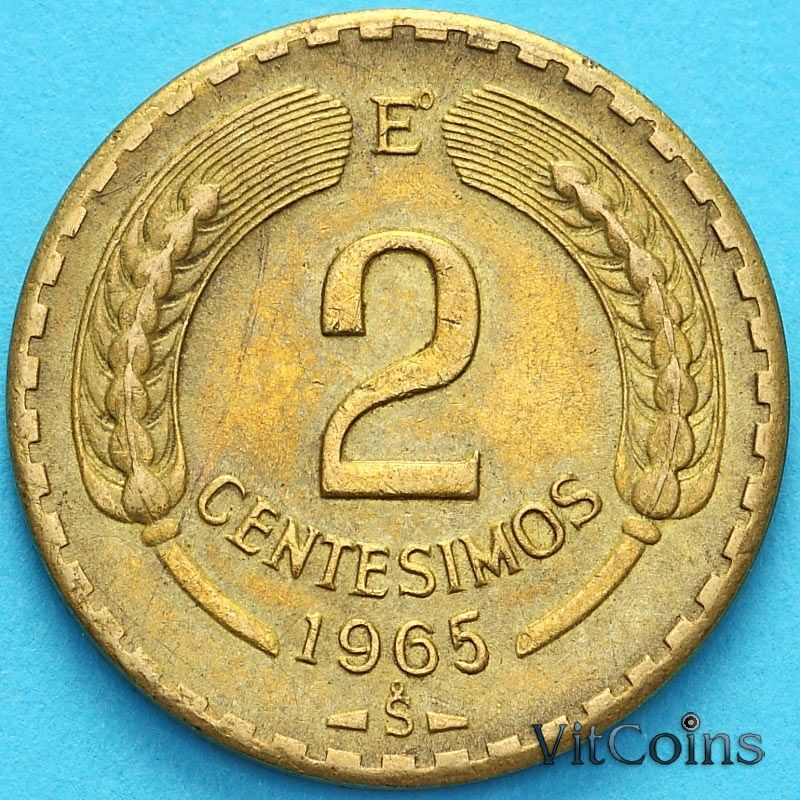 Монета Чили 2 сентесимо 1965 год.