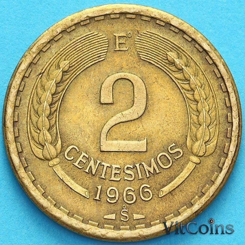 Монета Чили 2 сентесимо 1966 год.