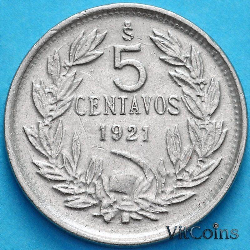 Монета Чили 5 сентаво 1921 год.