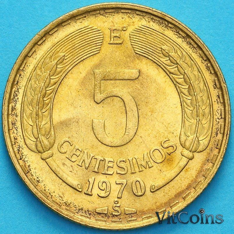 Монета Чили 5 сентесимо 1970 год.