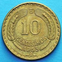 Чили 10 сентесимо 1963-1970 год.