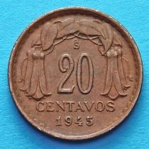 Чили 20 сентаво 1943-1947 год.
