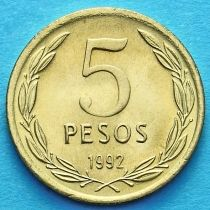 Чили 5 песо 1992 год. Бернардо О'Хиггинс.