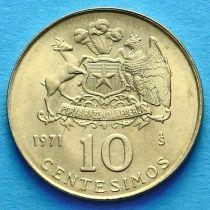 Чили 10 сентесимо 1971 год.