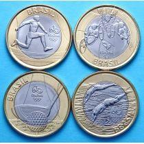 Бразилия набор 4 монеты 2014 год. Олимпиада в Рио. 1-ый выпуск.