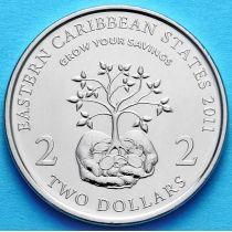 Восточные Карибы 2 доллара 2011 год.
