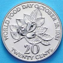 Ямайка 20 центов 1981 год. ФАО