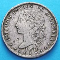 Колумбия 1 песо 1870 год. Серебро.