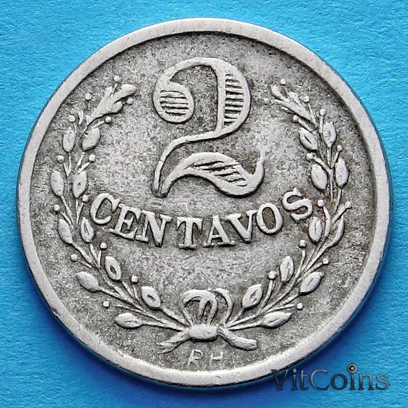 Колумбия монета 2 сентаво 1921 год. Монета с инициалами гравера. Лепрозорий.