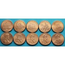 США набор 5 монет 1 цент 2009-2010 год. Жизнь Линкольна