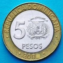 Доминиканская Республика 5 песо 2005 год.