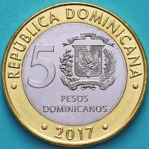 Доминиканская Республика 5 песо 2017 год.