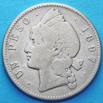 Доминиканская Республика 1 песо 1897 год. Серебро.