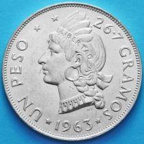 Доминиканская Республика 1 песо 1963 год. Серебро.