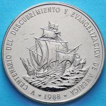 Доминиканская Республика 1 песо 1988 год. Открытие Америки.