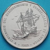 Доминиканская Республика 1 песо 1989 год. Открытие Америки. Парусник.