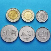 Эквадор набор 6 монет 1988-1997 год.