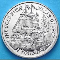 """Фолклендские острова 2 фунта 2000 год. Золотая лихорадка. Корабль """"Ренегат""""."""