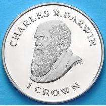 Фолклендские острова 1 крона 2009 г. Чарльз Дарвин