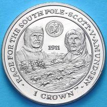 Фолклендские острова 1 крона 2007 год.  Экспедиция на южный полюс
