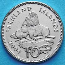 Фолклендские острова 10 пенсов 2004 год. Морские львы.