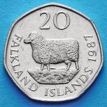 Фолклендские острова 20 пенсов 1982-1999 год.