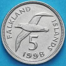 Фолклендские острова 5 пенсов 1998 год. Чернобровый альбатрос.