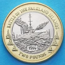 Фолклендские острова 2 фунта 2014 год. 100 лет Фолклендскому бою.