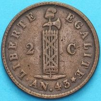 Гаити 2 сантима 1846 год. KM#: 26