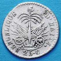 Гаити 25 сантим 1828 год. Серебро.