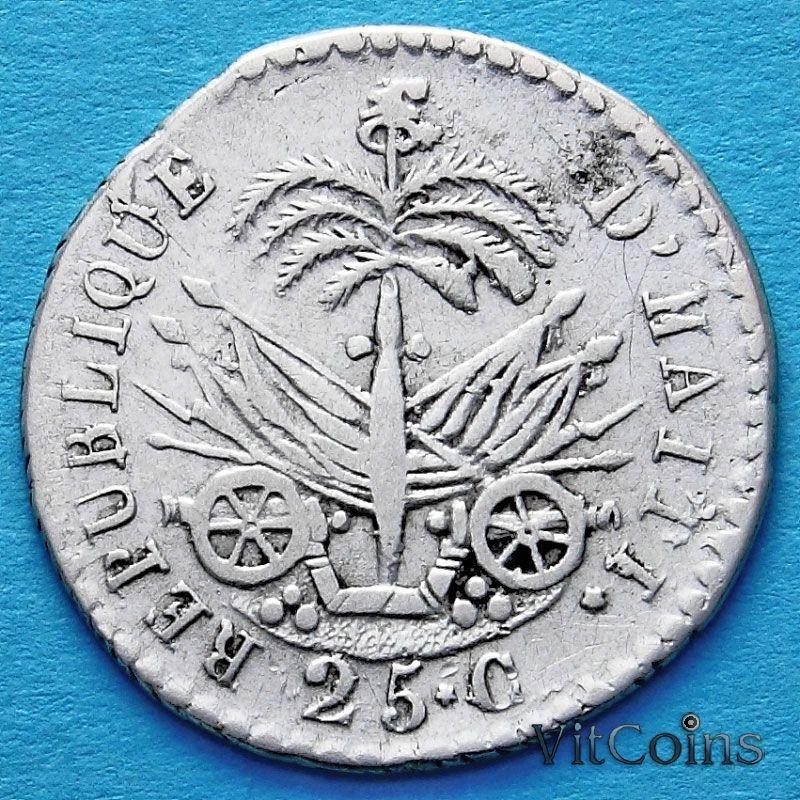Монеты Гаити 25 сантим 1828 год. Серебро.