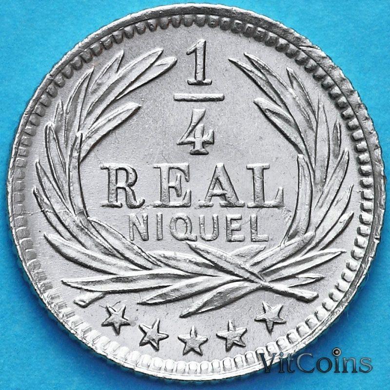 Монета Гватемала 1/4 реала 1900 год.