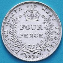 Британская Гвиана и Западная Индия 4 пенса 1891 год