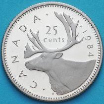 Канада 25 центов 1984 год. Пруф.