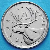 Канада 25 центов 2018 год. Карибу.