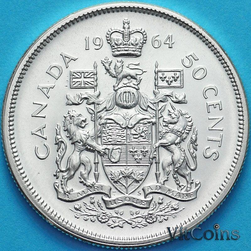 Монета Канада 50 центов 1964 год. Серебро.