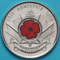 Канада 25 центов 2008 год. 90 лет со дня окончания Первой мировой войны