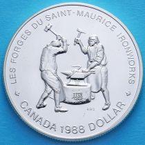 Канада 1 доллар 1988 год. Кузнецы Сен-Мориса. Серебро.
