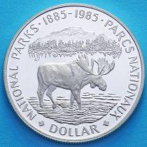 Канада 1 доллар 1985 год. Национальные парки Канады. Серебро.